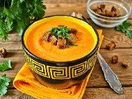 Крем супа от тиква с моркови и топено сирене